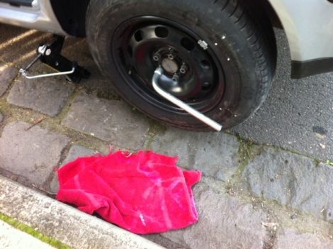 flat tyre and towel