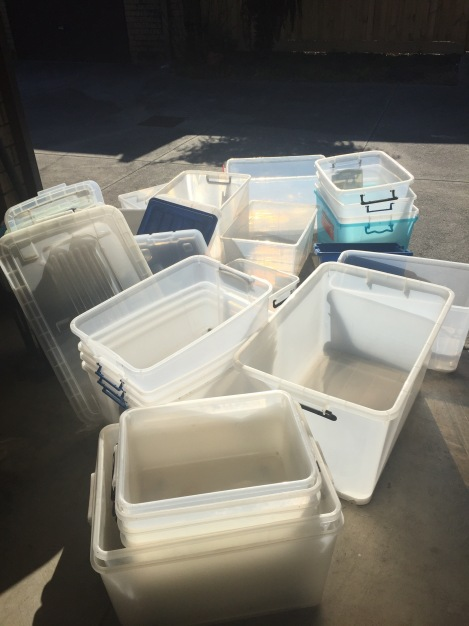 Plastic tubs - no longer needed.